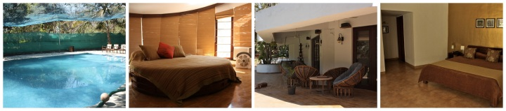 the swimming pool, bedroom with circular bed, outdoor verandah and another room
