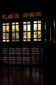 wooden frames across the verandah