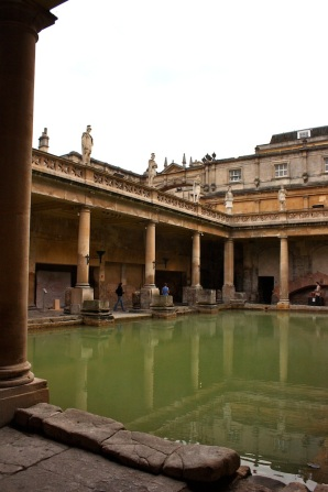 roman baths with the statues looming large at ground level...