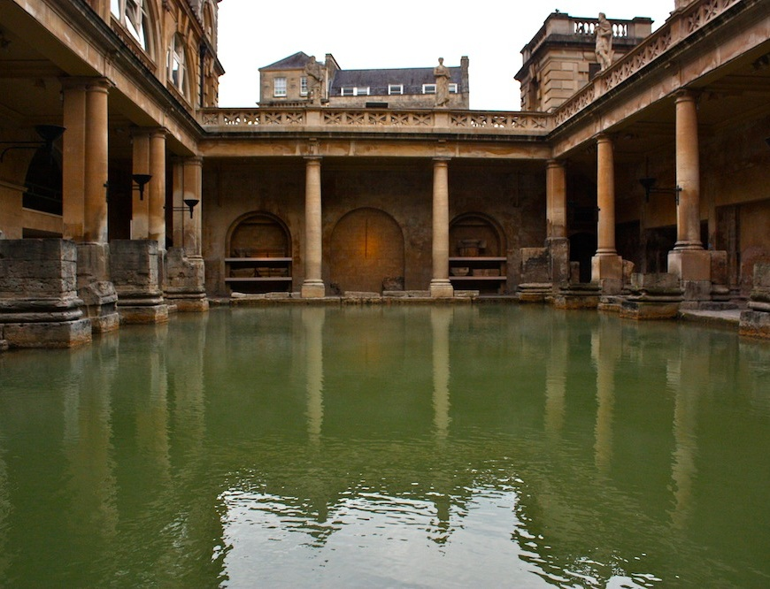 the roman baths still stand tall and imposing