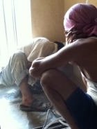 he lays the floor