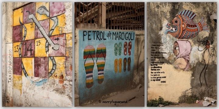 three pieces of graffiti