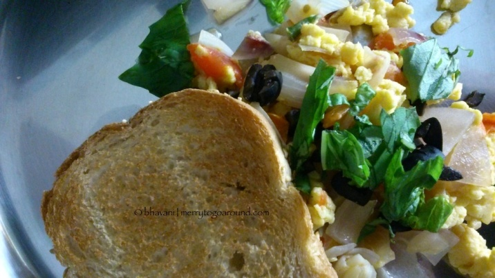 scrambled eggs with peppers & torn basil... the current favourite!