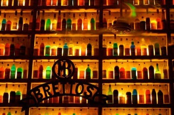 liquor bottles create a pattern