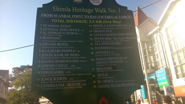 the board with the route for the heritage walk