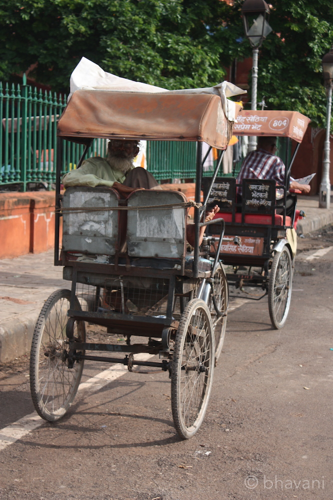 Cycle rickshaws still ply inside the walled city and are a sustainable way to get around. I tend to tip big for the effort involved.