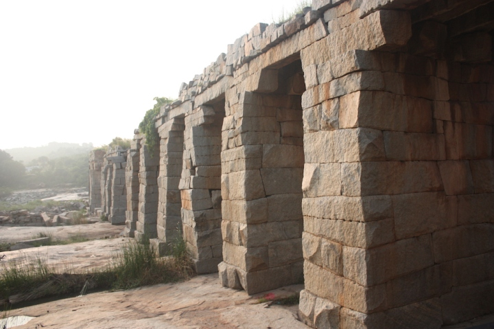 Aquaducts across the Tungabadra. Even today irrigation channels used date to the Vijayanara period.