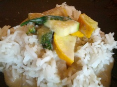Thai Green curry seeping into the rice